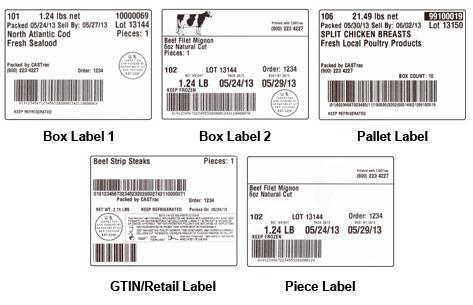 CAS Trac Sample Labels